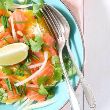 Salade de fenouil, orange et saumon fumé.