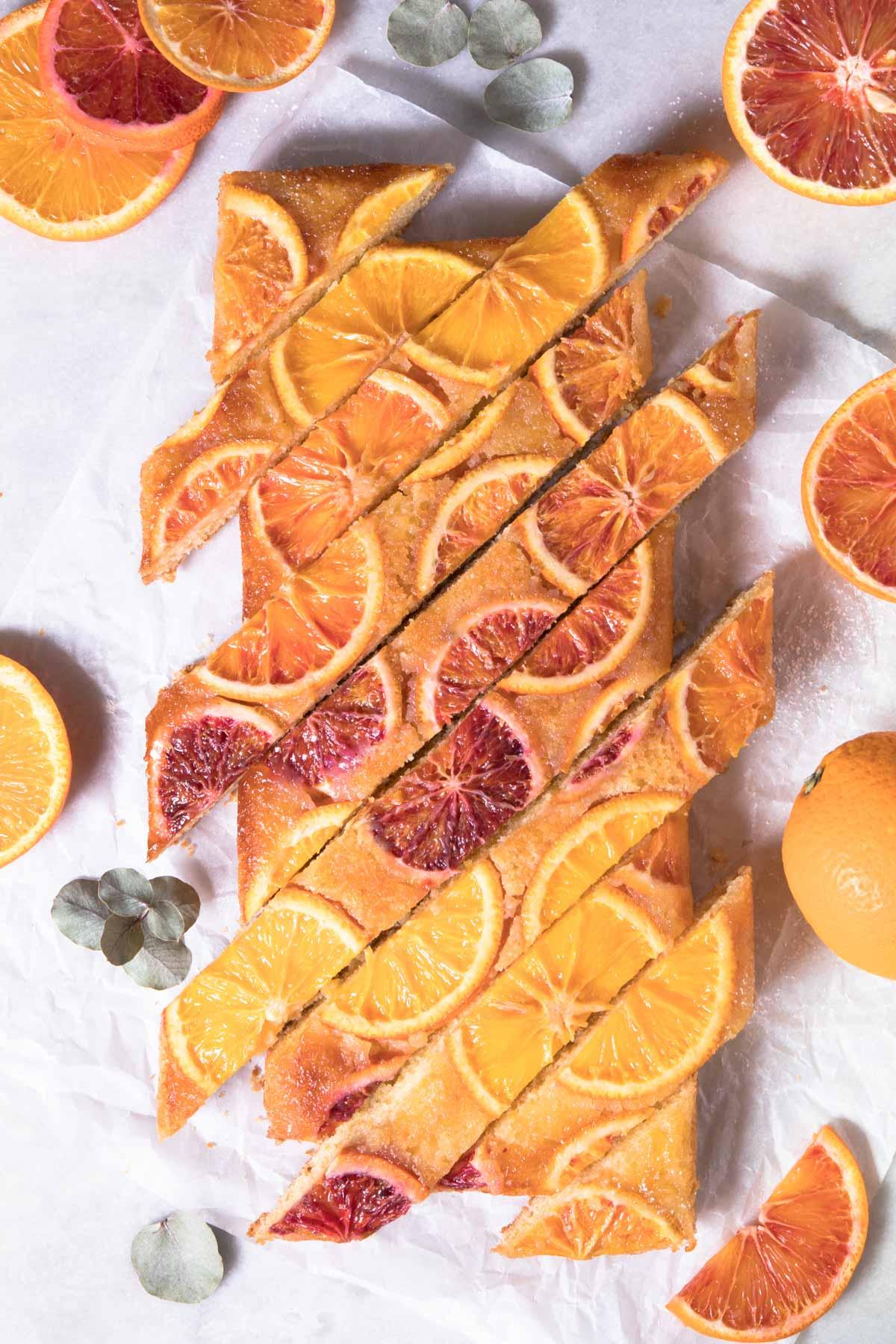 Gâteau aux oranges sanguines et à la vanille