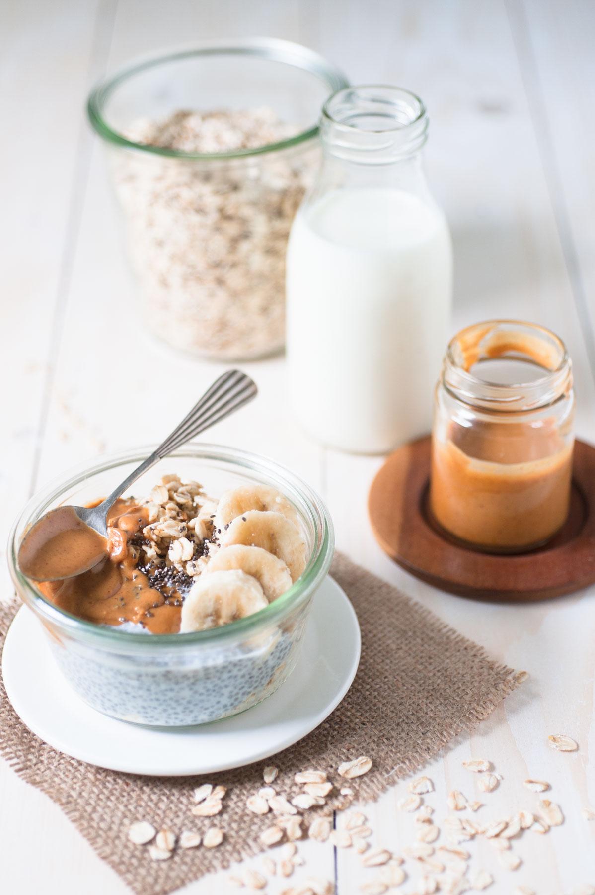 Porridge overnight au beurre de cacahuète