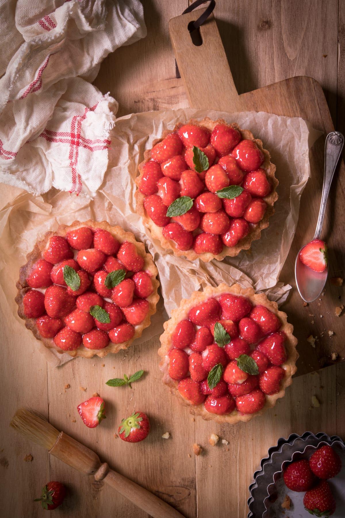 Tartelettes aux fraises et à la menthe